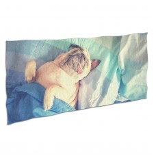 Cute Pug Dog Sleep Rest In The Bed Soft,Compact,Lightweight,Quick Dry Absorbent,Large Sand Free Beach TowelsMicrofiber Towels Yoga Quick Dry Camping,Superfine Fiber.