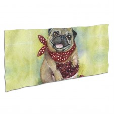 Cute Pug Cherry Soft,Compact,Lightweight,Quick Dry Absorbent,Large Sand Free Beach TowelsMicrofiber Towels Gym Quick Dry Camping,Superfine Fiber.